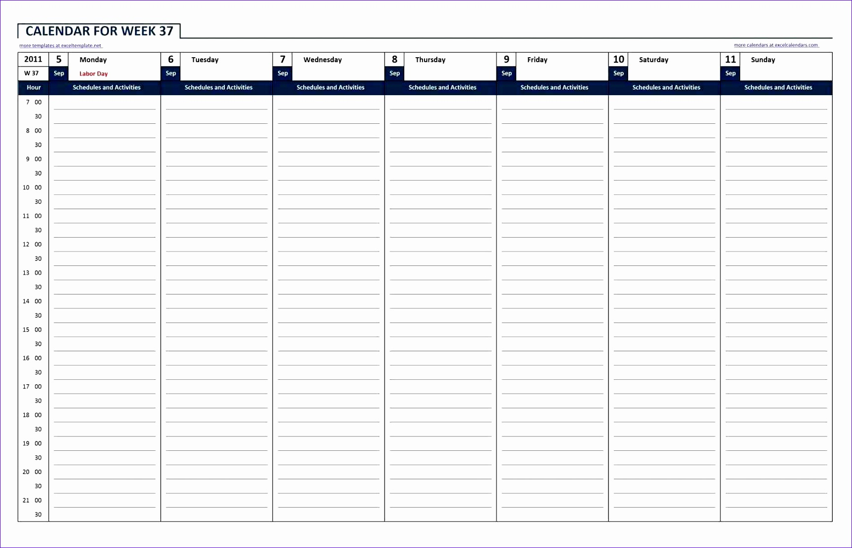 Template Calendar For Excel Free Printable Templates Blank Work Week  Template U Editable Blank Excel Hourly
