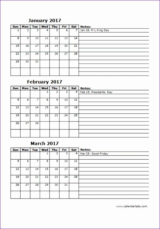 2017 quarterly calendar 12p