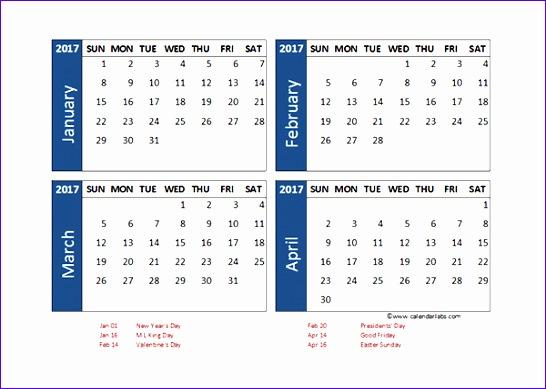 3 Month Calendar Template Excel Tesog Fresh 2017 Calendar Excel