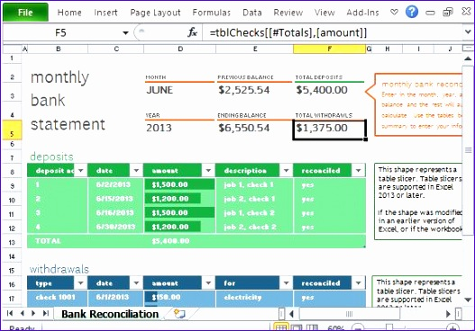 Built In Formula Designed for Bank Reconciliation