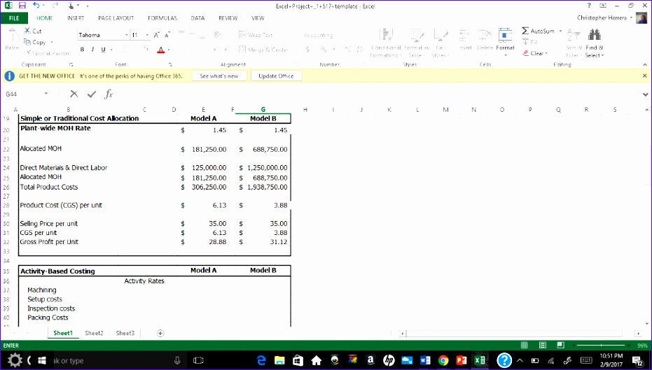 7 activity based costing excel template exceltemplates
