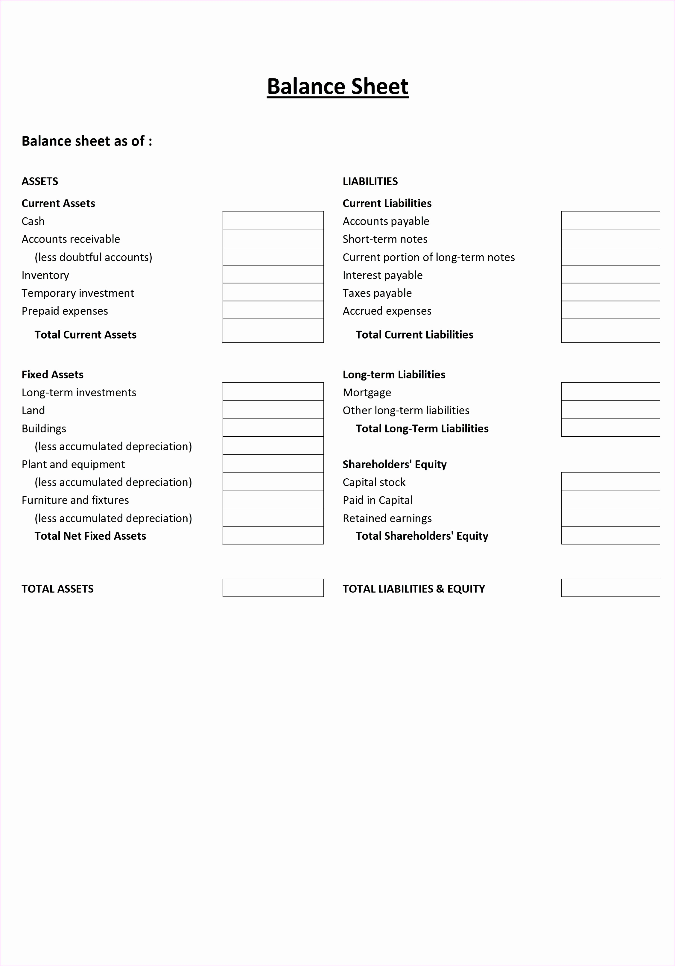 Printable Blank Balance Sheet Template