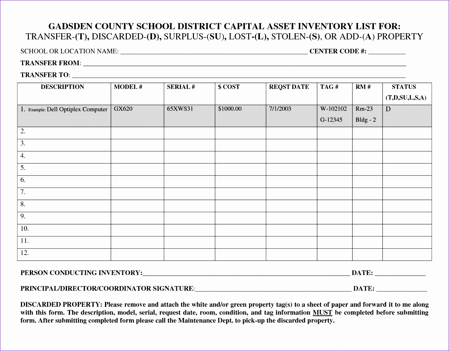 asset inventory list template 8205
