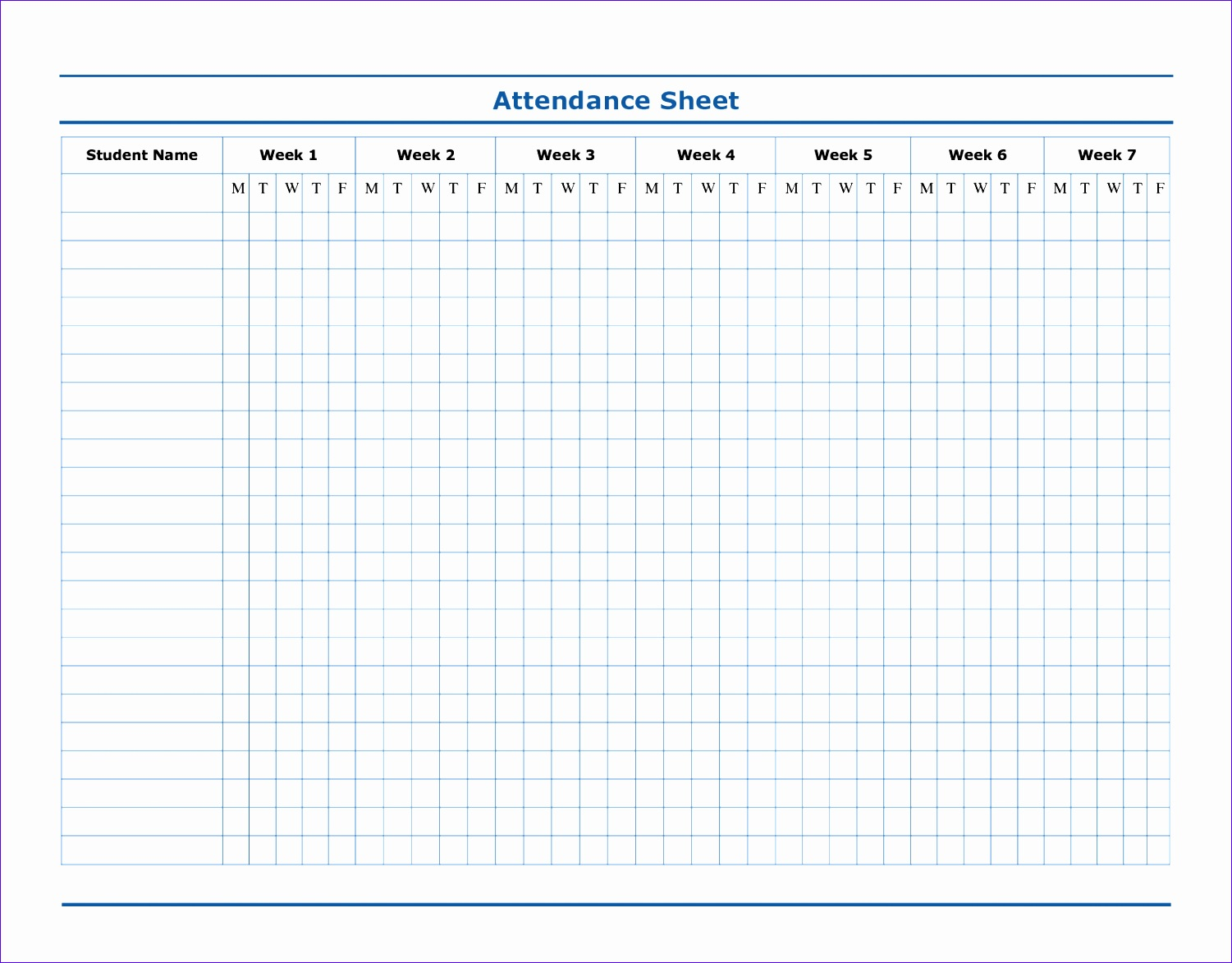 uncategorized perfect 7 week classroom attendance sheet template for print