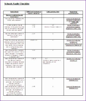 Schools Audit Checklist