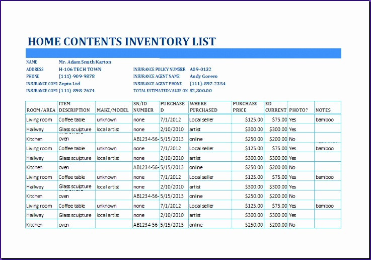 home contents inventory