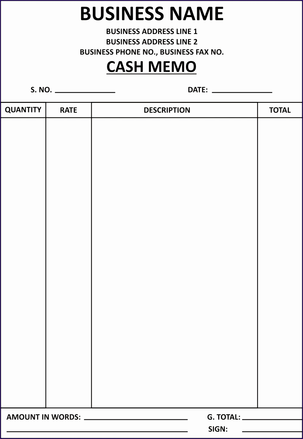Bill Of Material Excel Template G9azo Lovely General Knowledge Library Cash Memo Template