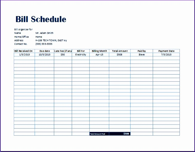 Bill schedule template