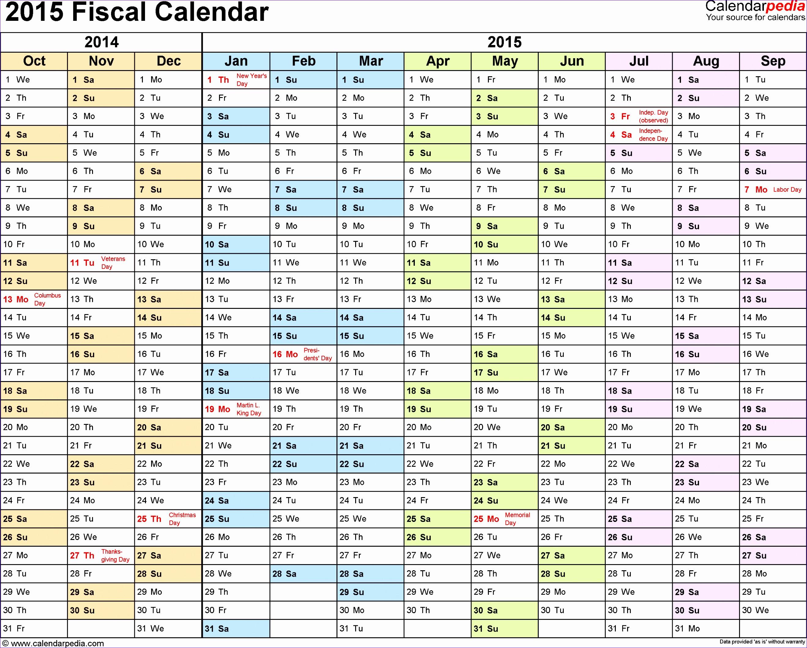 fiscal calendar 2015