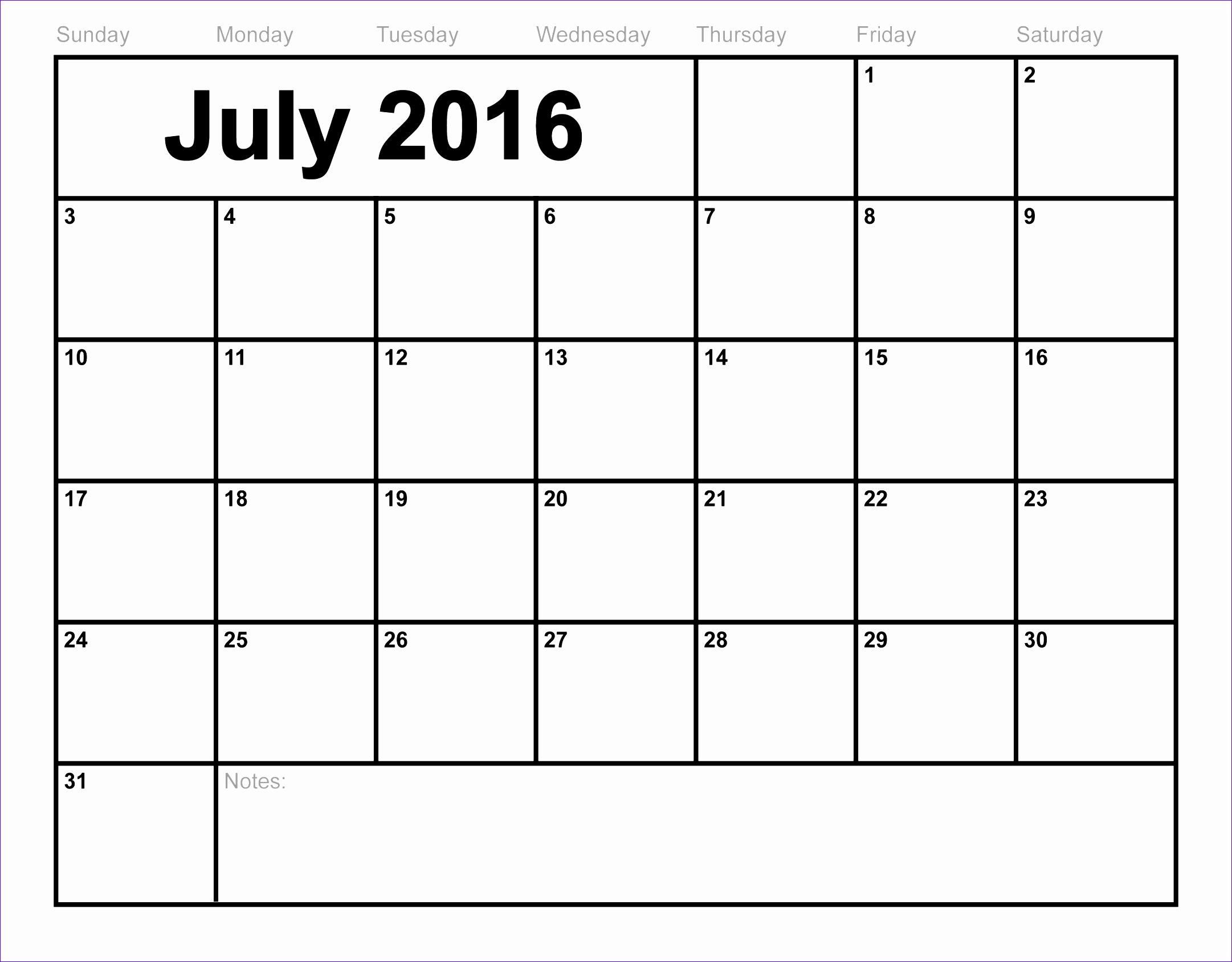 July 2016 calendar printable free blank calendar 2016