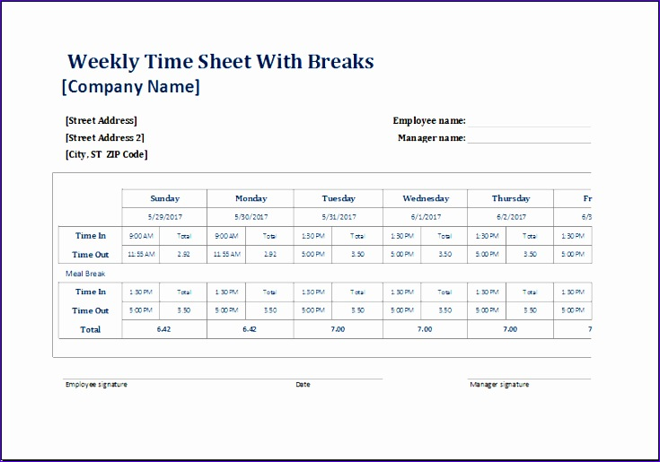 7 break schedule template excel
