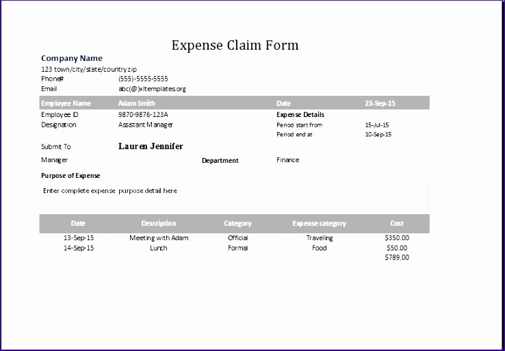 expense claim form 1
