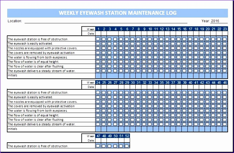 eyewash station maintenance log