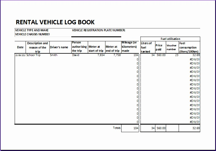 Rental vehicle log book