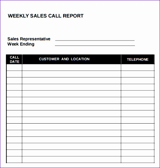 Call Report Template Excel B0dyg Elegant Sample Sales Call Report 7 Documents In Pdf Word Excel