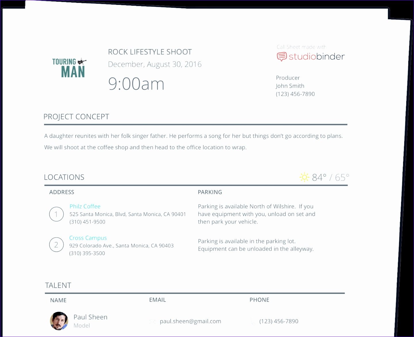 Professional and TV Call Sheet Template StudioBinder pages min