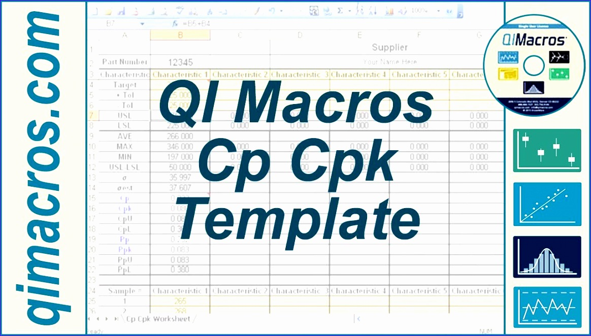 Capability Study Excel Template Unnaf Lovely Cp Cpk Template In Excel to Perform Process Capability Analysis