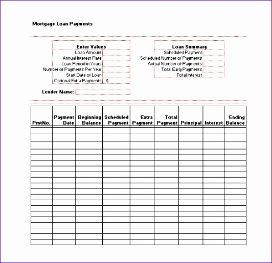 Mortgage Loan Schedule Template Excel Format Download