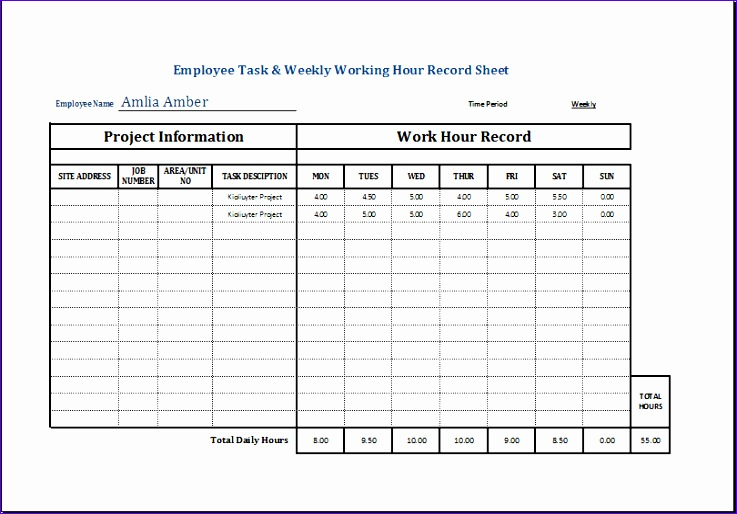 employee task and weekly working hour record sheet