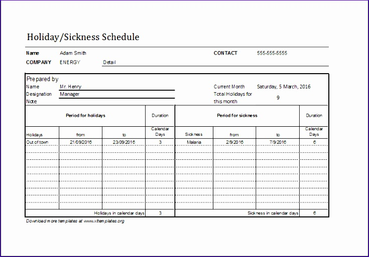 Cash Receipt Jhvea Lovely Employee Holiday Sickness Schedule Template