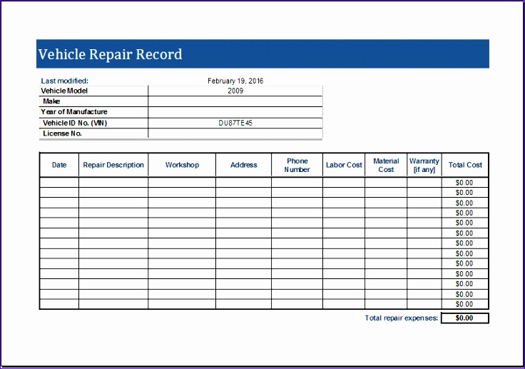 Cash Receipt Rhebr Fresh Vehicle Repair Log Template for Ms Excel