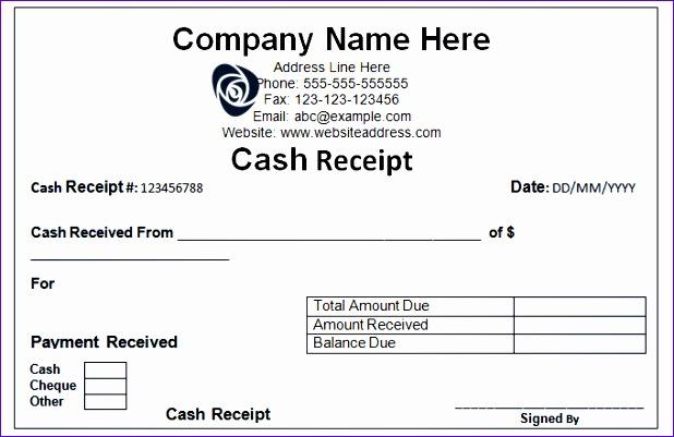 Sample Cash Recipt Template