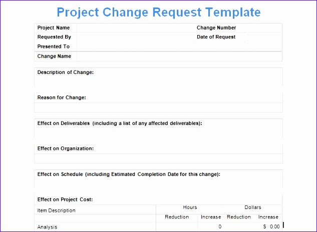 project change request template