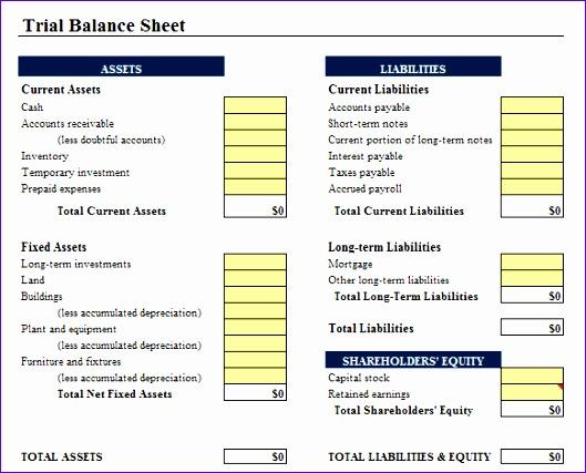 Balance Sheet Template to Print