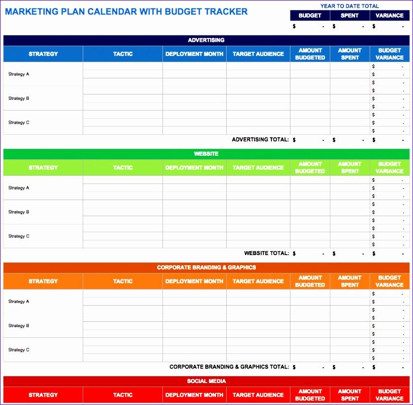 Marketing Plan Calendar With Bud Tracker