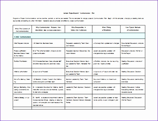 Project munications Plan Free Word Template Download