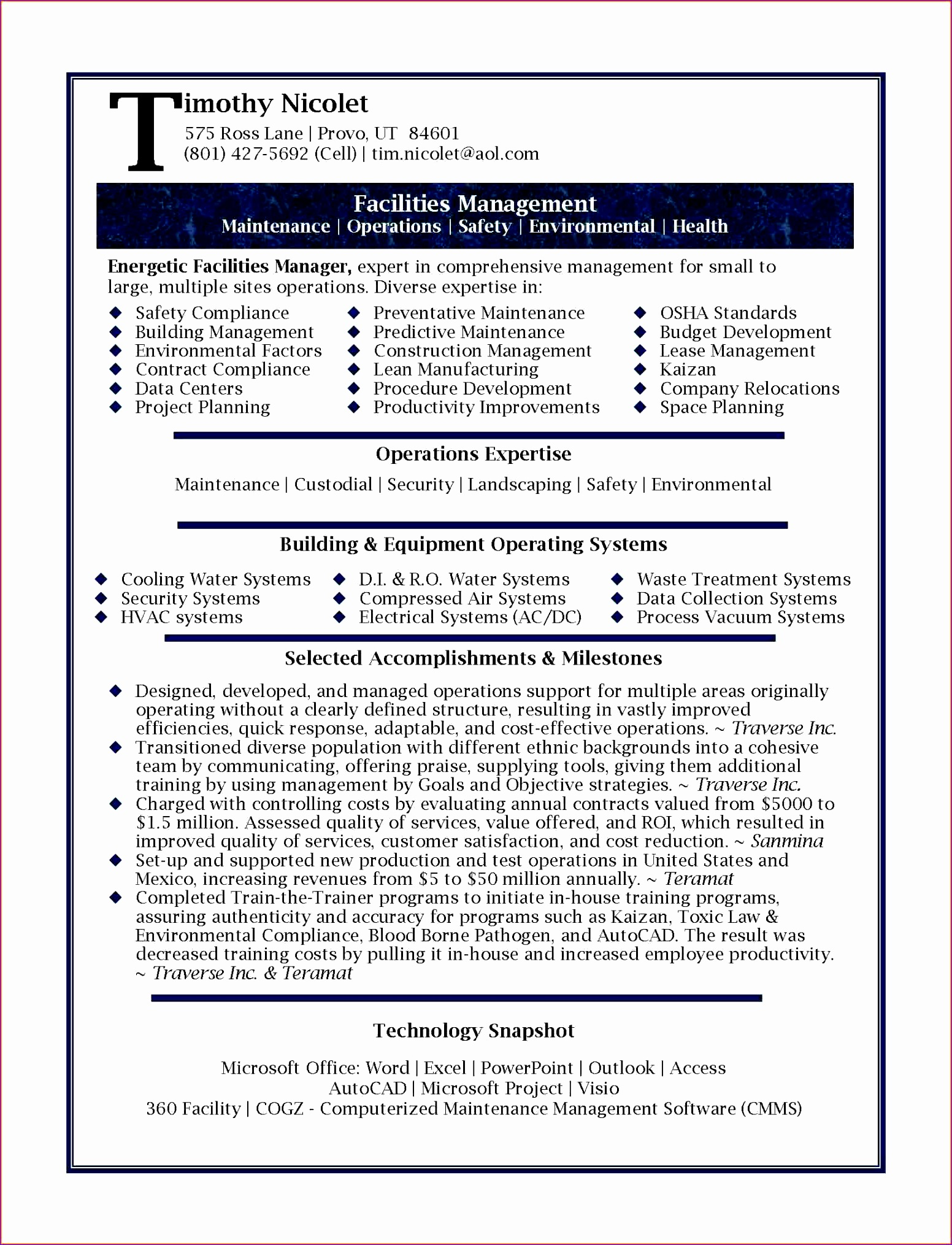 business management resumes sample facilities manager page 1