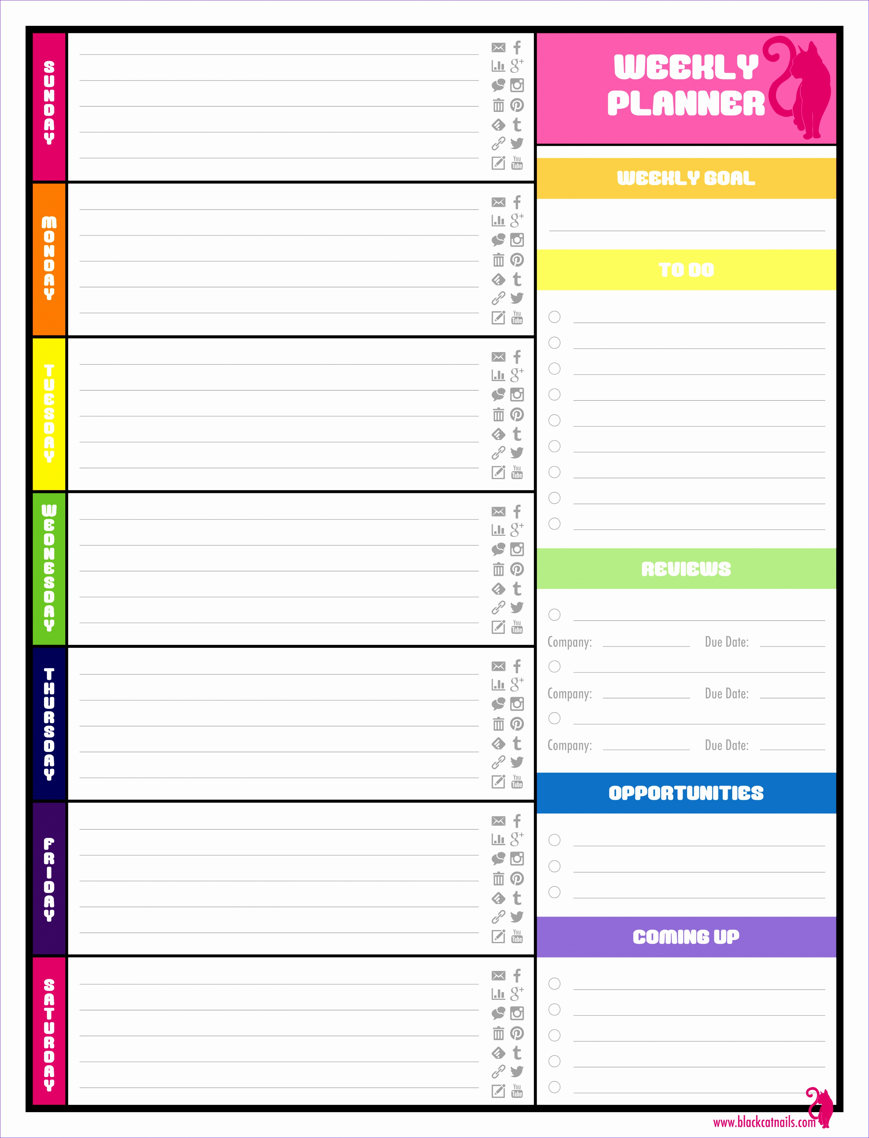 Conference Agenda Template Excel Shsa Inspirational Colorful Weekly Blogging Planner Image Blog Life