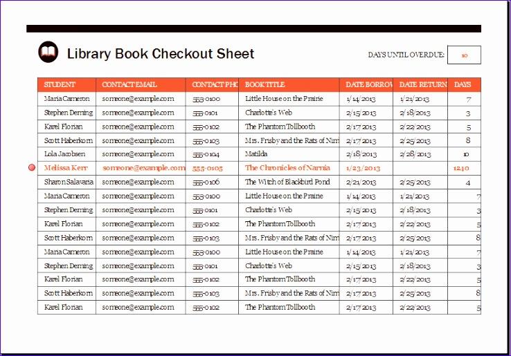 Library Book Checkout Sheet