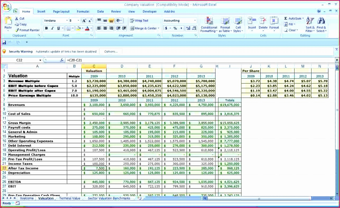 business bud template excel 5