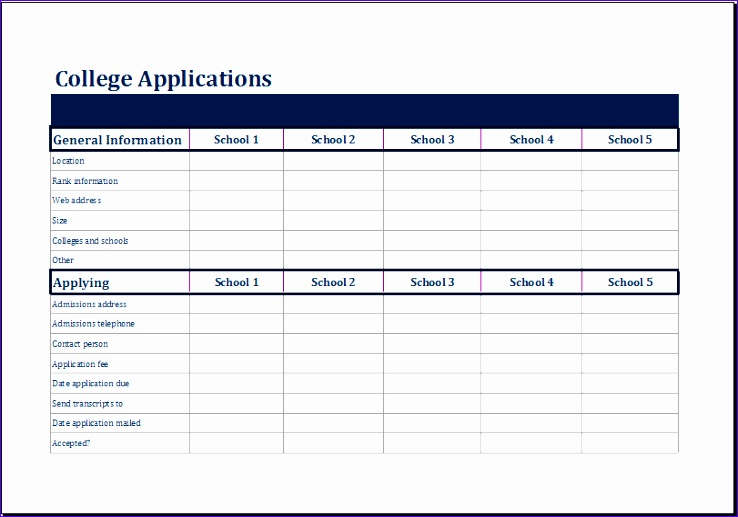 college parison sheet
