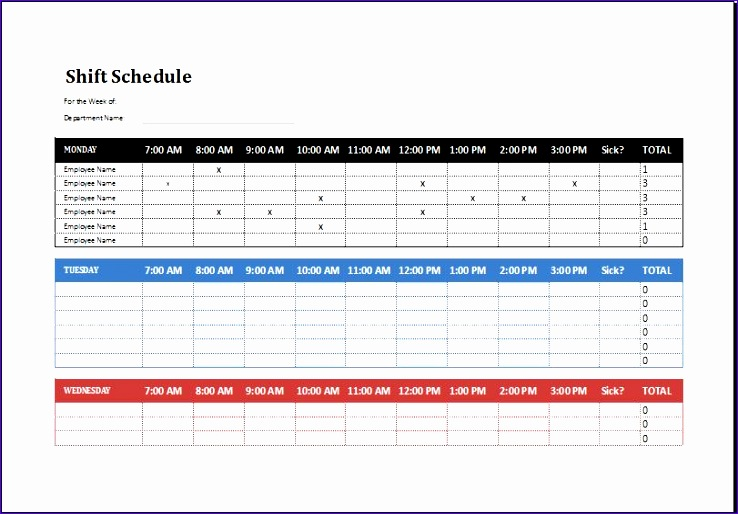 Employee shift schedule 2