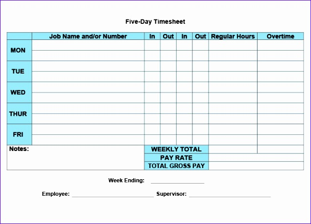 5Day Timesheet Calculator Template