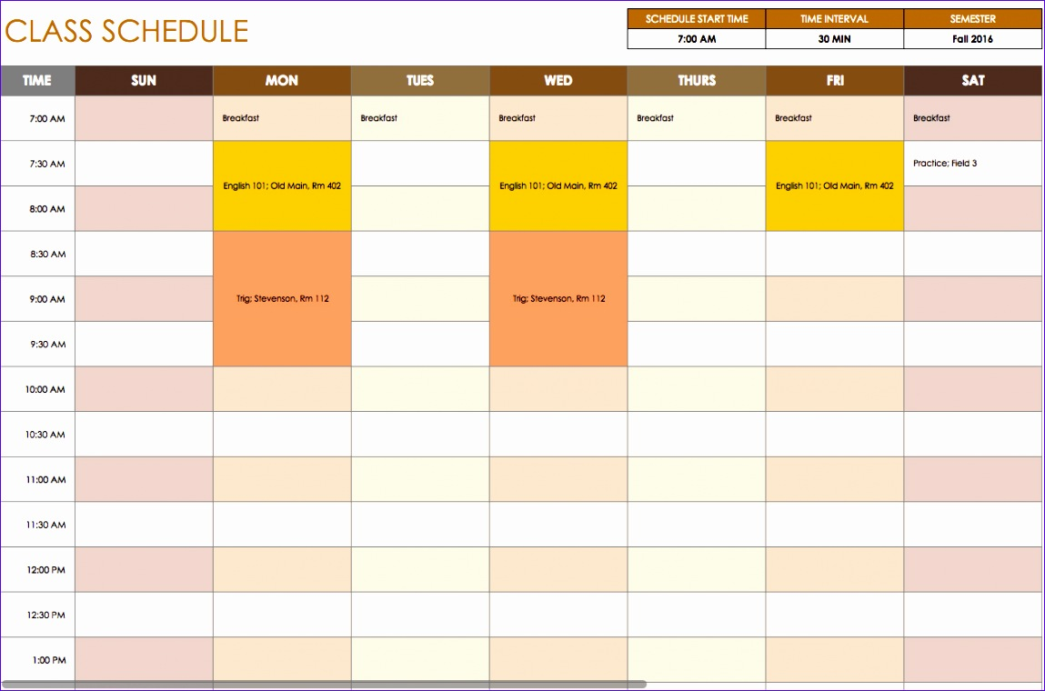 Timetable Templates Excel