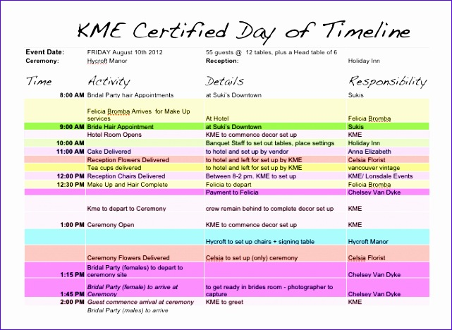 Day Of Wedding Timeline Template Excel Bdukd Awesome Wedding Day Timeline Template