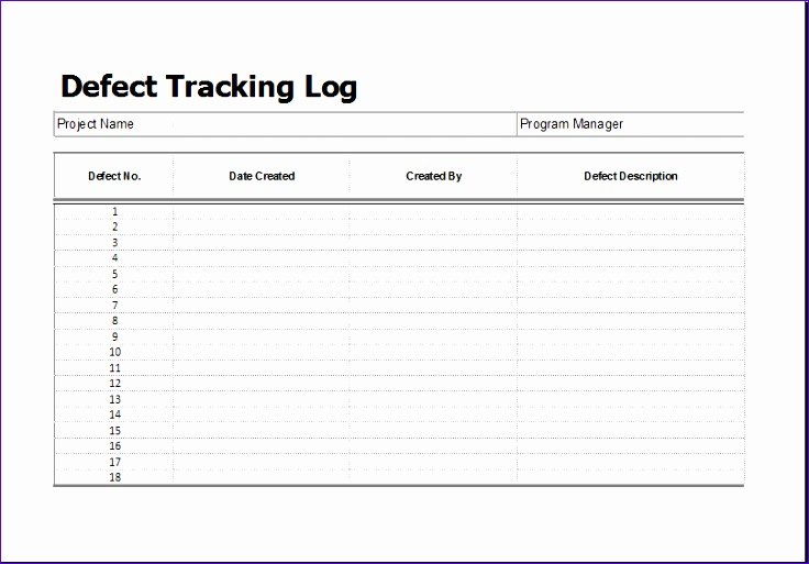 11 decision log template exceltemplates exceltemplates for Defect checklist template