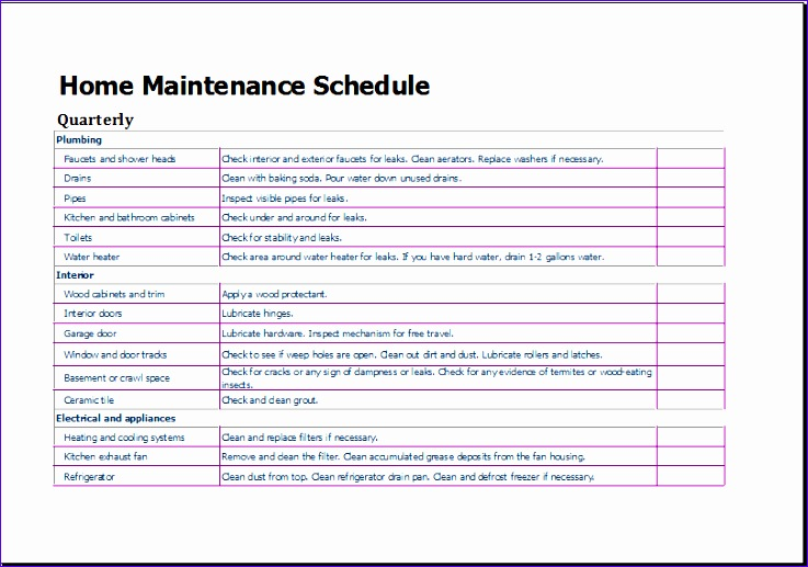 home maintenance schedule