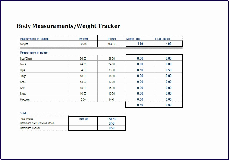 body measurement and weight tracker