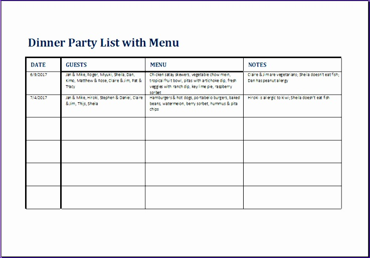 Dinner Party List with Menu 1higv Elegant Dinner Party List with Menu Template for Excel