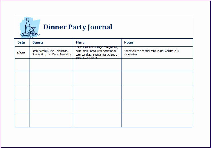Dinner Party List with Menu Ukhws Lovely Dinner Party Journal Template Ms Excel