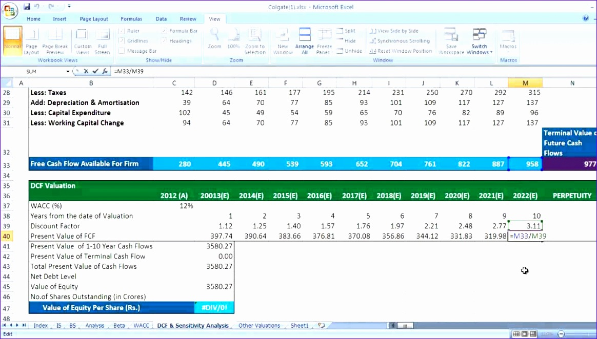 Discounted Cash Flow Template Excel Iwowy Unique Dcf Discounted Cash Flow Valuation In Excel Video