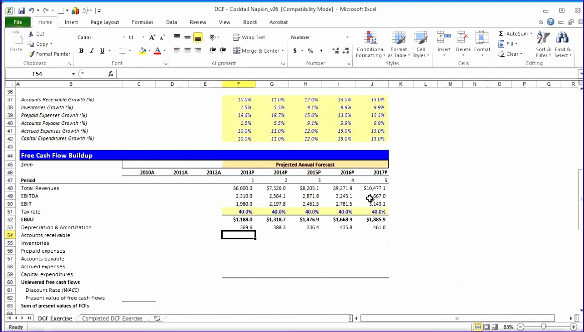 Discounted Cash Flow Template Excel Nq2el Fresh Financial Modeling Quick Lesson Building A Discounted Cash Flow