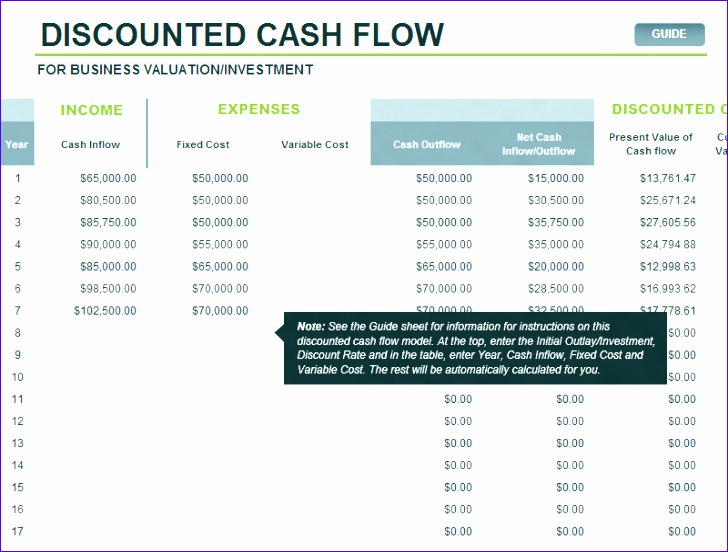 Discounted Cash Flow Template Excel Tfwsy Luxury Discounted Cash Flow Model Fice Templates