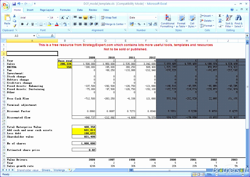 Discounted Cash Flow Template Excel V1wje New Download Free Dcf Model Dcf Model Download