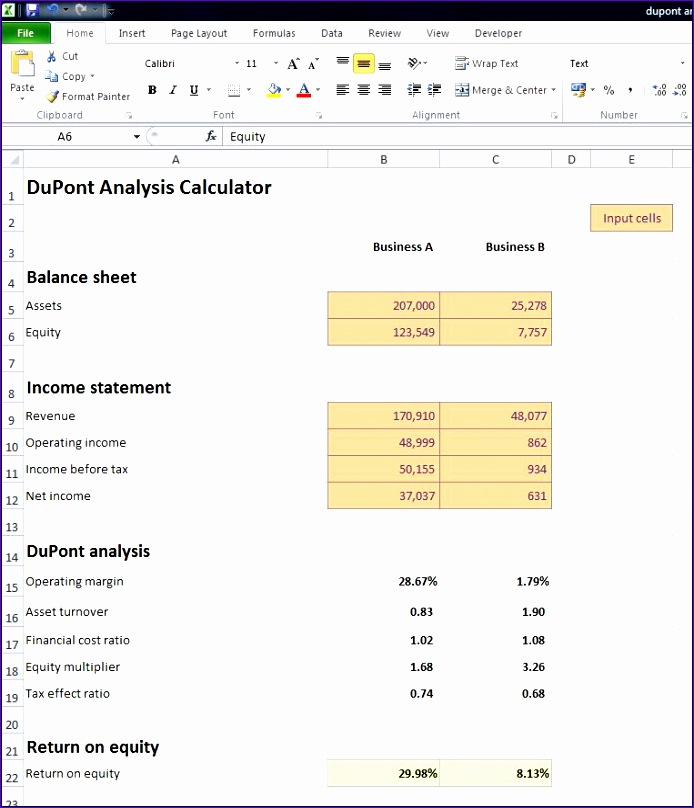 Dupont Analysis Calculator V 1 0