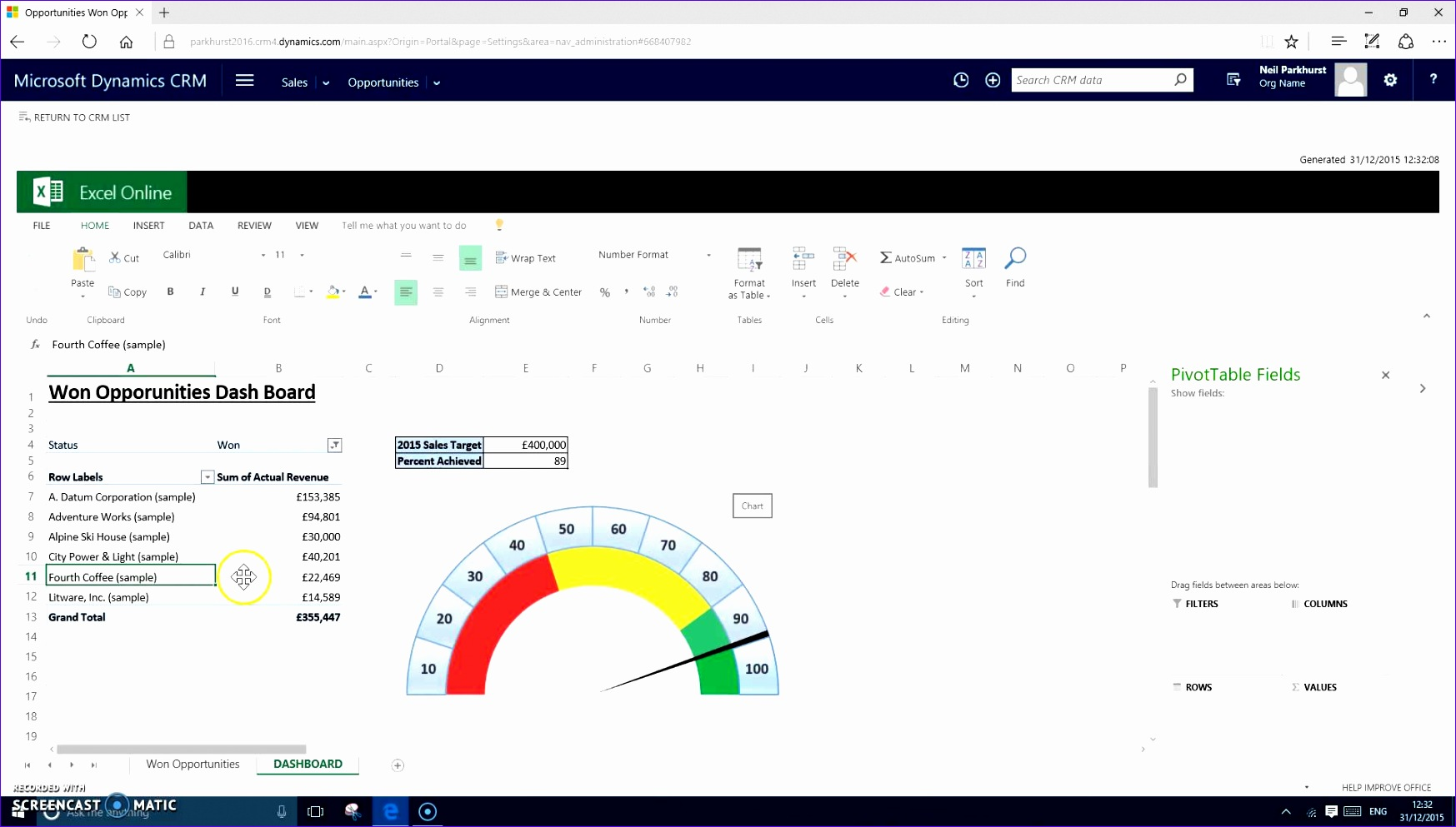 Dynamic Dashboard Template In Excel Elcjk Unique Demo Crm 2016 Excel Templates